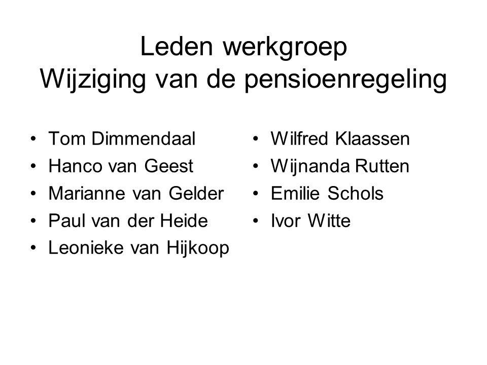 Leden werkgroep Wijziging van de pensioenregeling Tom Dimmendaal Hanco van Geest Marianne van Gelder Paul van der Heide Leonieke van Hijkoop Wilfred K