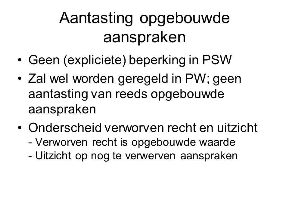 Aantasting opgebouwde aanspraken Geen (expliciete) beperking in PSW Zal wel worden geregeld in PW; geen aantasting van reeds opgebouwde aanspraken Ond