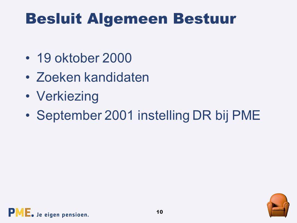 10 Besluit Algemeen Bestuur 19 oktober 2000 Zoeken kandidaten Verkiezing September 2001 instelling DR bij PME