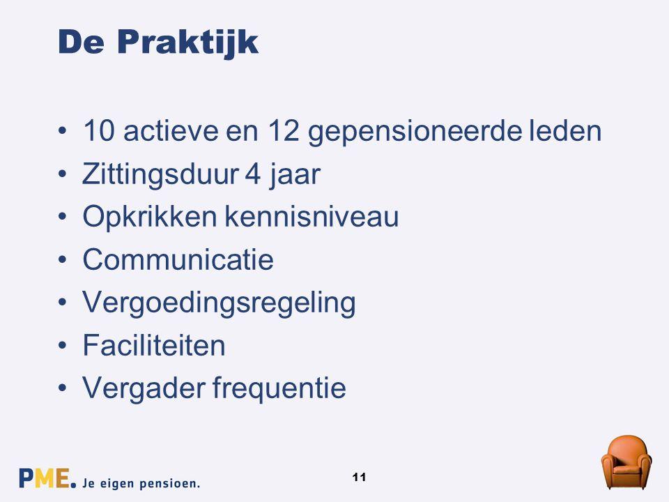 11 De Praktijk 10 actieve en 12 gepensioneerde leden Zittingsduur 4 jaar Opkrikken kennisniveau Communicatie Vergoedingsregeling Faciliteiten Vergader