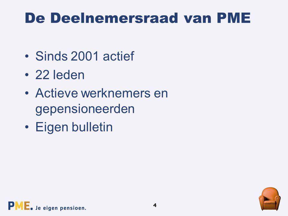 4 De Deelnemersraad van PME Sinds 2001 actief 22 leden Actieve werknemers en gepensioneerden Eigen bulletin