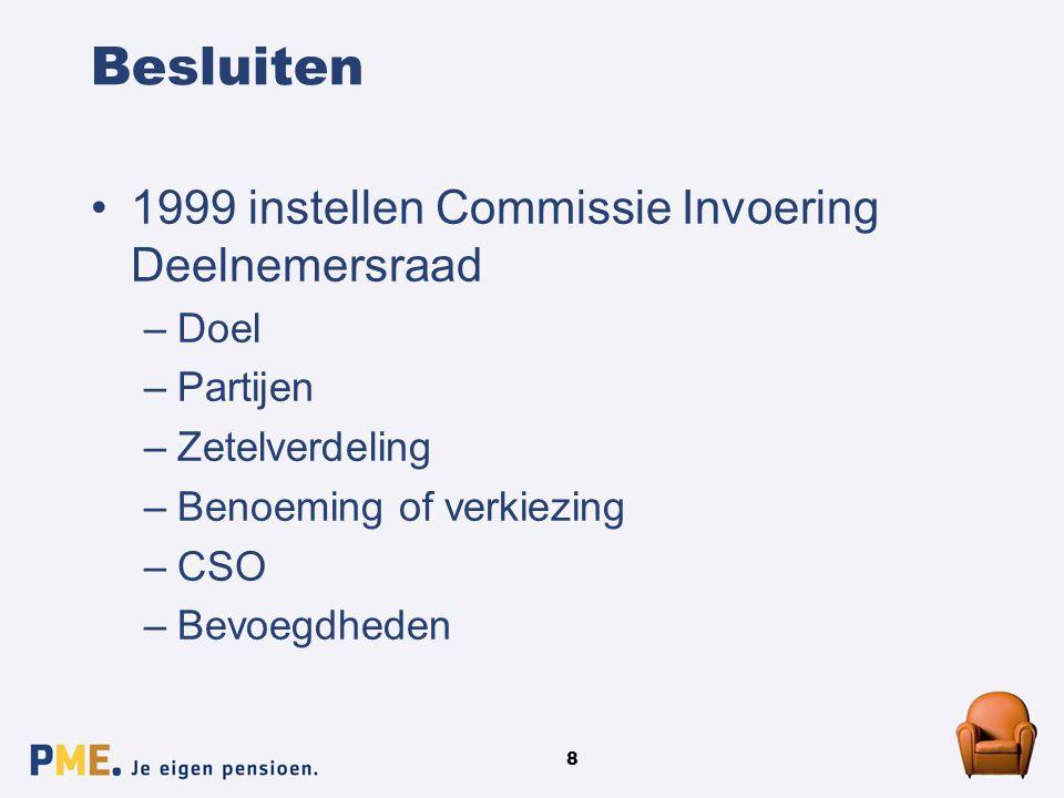 8 Besluiten 1999 instellen Commissie Invoering Deelnemersraad –Doel –Partijen –Zetelverdeling –Benoeming of verkiezing –CSO –Bevoegdheden