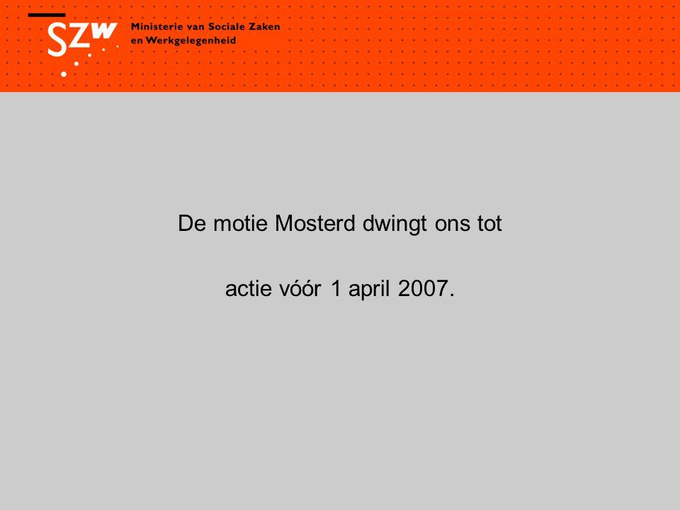 De motie Mosterd dwingt ons tot actie vóór 1 april 2007.