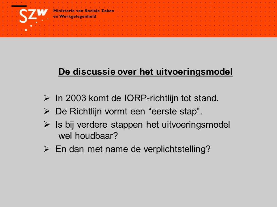 """De discussie over het uitvoeringsmodel  In 2003 komt de IORP-richtlijn tot stand.  De Richtlijn vormt een """"eerste stap"""".  Is bij verdere stappen he"""