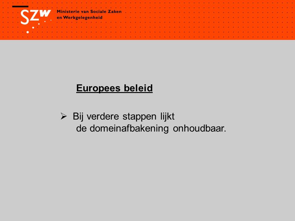 Europees beleid  Bij verdere stappen lijkt de domeinafbakening onhoudbaar.