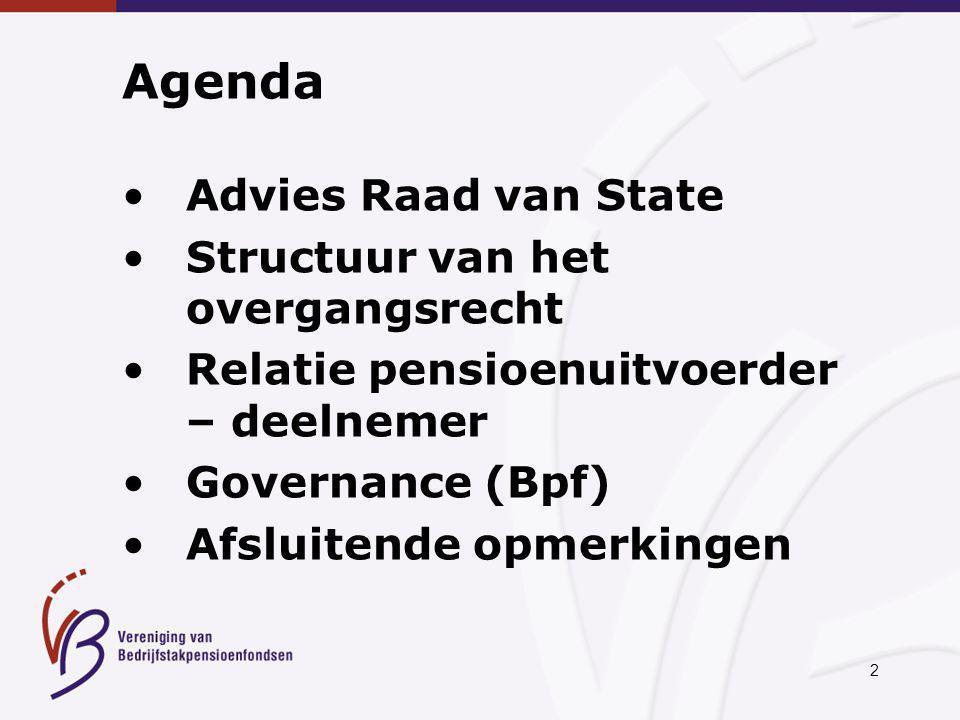 2 Agenda Advies Raad van State Structuur van het overgangsrecht Relatie pensioenuitvoerder – deelnemer Governance (Bpf) Afsluitende opmerkingen