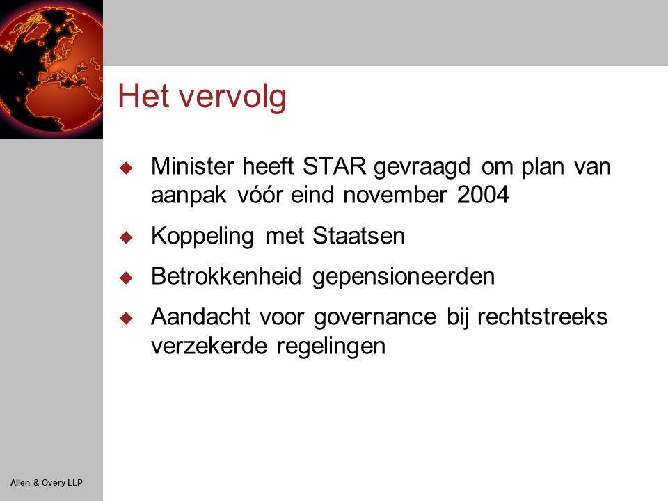 Allen & Overy LLP Het vervolg  Minister heeft STAR gevraagd om plan van aanpak vóór eind november 2004  Koppeling met Staatsen  Betrokkenheid gepensioneerden  Aandacht voor governance bij rechtstreeks verzekerde regelingen