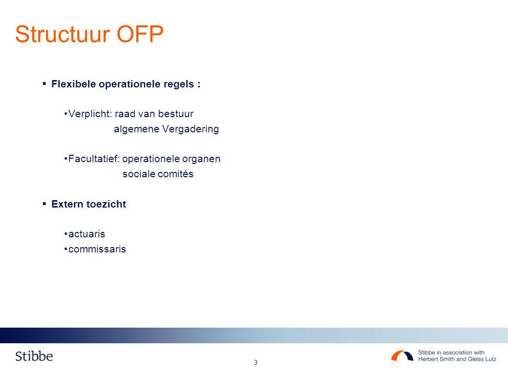 3  Flexibele operationele regels : Verplicht: raad van bestuur algemene Vergadering Facultatief: operationele organen sociale comités  Extern toezicht actuaris commissaris Structuur OFP