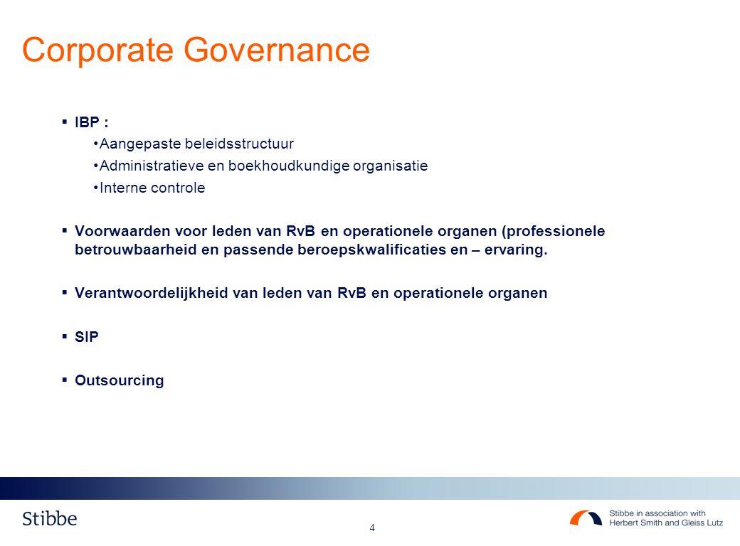 4  IBP : Aangepaste beleidsstructuur Administratieve en boekhoudkundige organisatie Interne controle  Voorwaarden voor leden van RvB en operationele organen (professionele betrouwbaarheid en passende beroepskwalificaties en – ervaring.