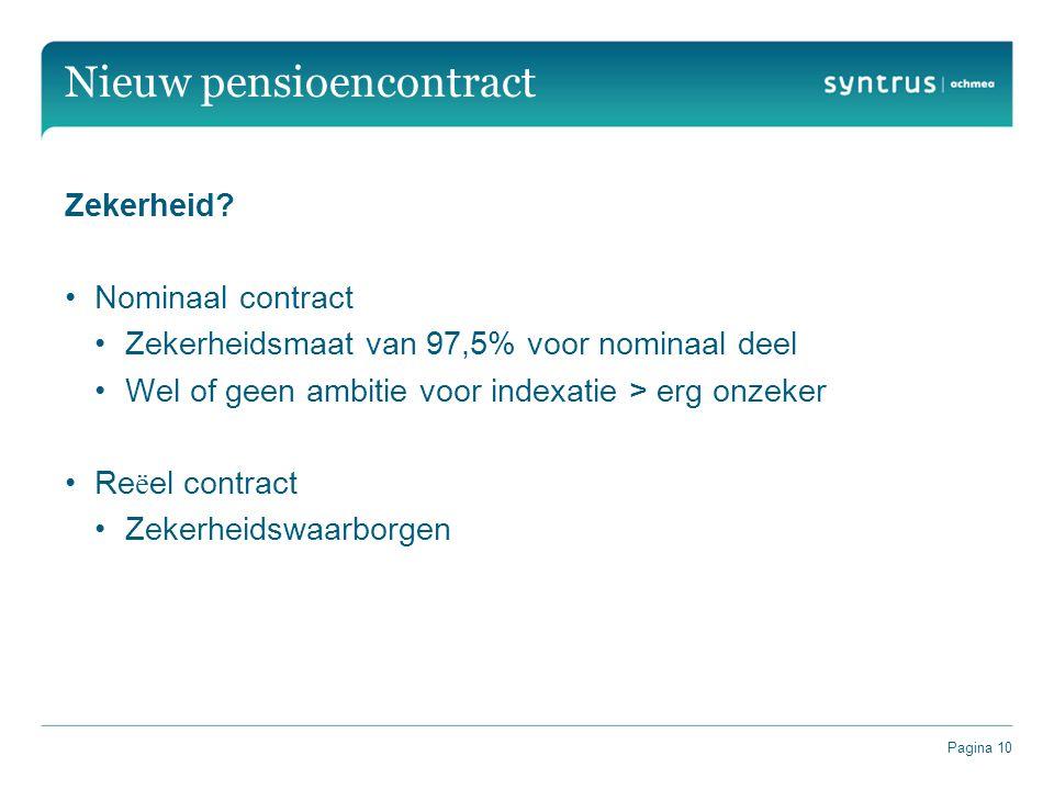 Pagina 10 Nieuw pensioencontract Zekerheid? Nominaal contract Zekerheidsmaat van 97,5% voor nominaal deel Wel of geen ambitie voor indexatie > erg onz