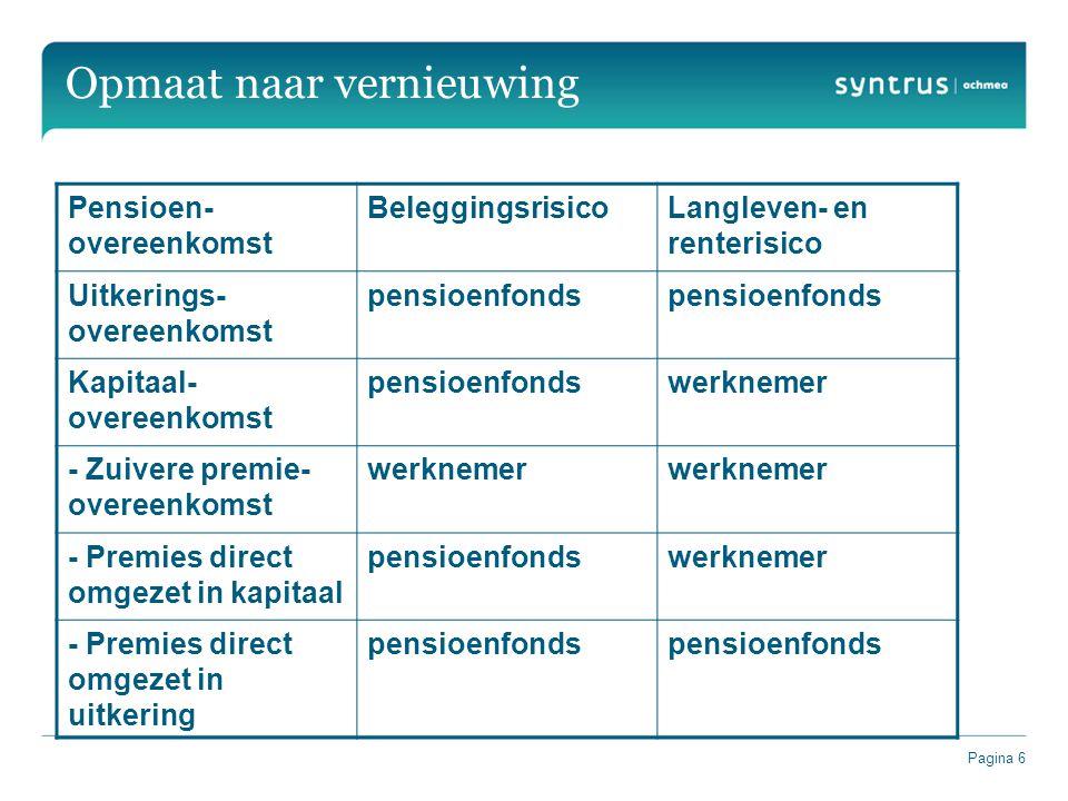 Pagina 6 Opmaat naar vernieuwing Pensioen- overeenkomst BeleggingsrisicoLangleven- en renterisico Uitkerings- overeenkomst pensioenfonds Kapitaal- ove