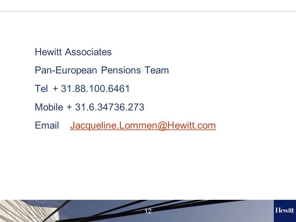 12 Hewitt Associates Pan-European Pensions Team Tel + 31.88.100.6461 Mobile + 31.6.34736.273 Email Jacqueline.Lommen@Hewitt.comJacqueline.Lommen@Hewitt.com
