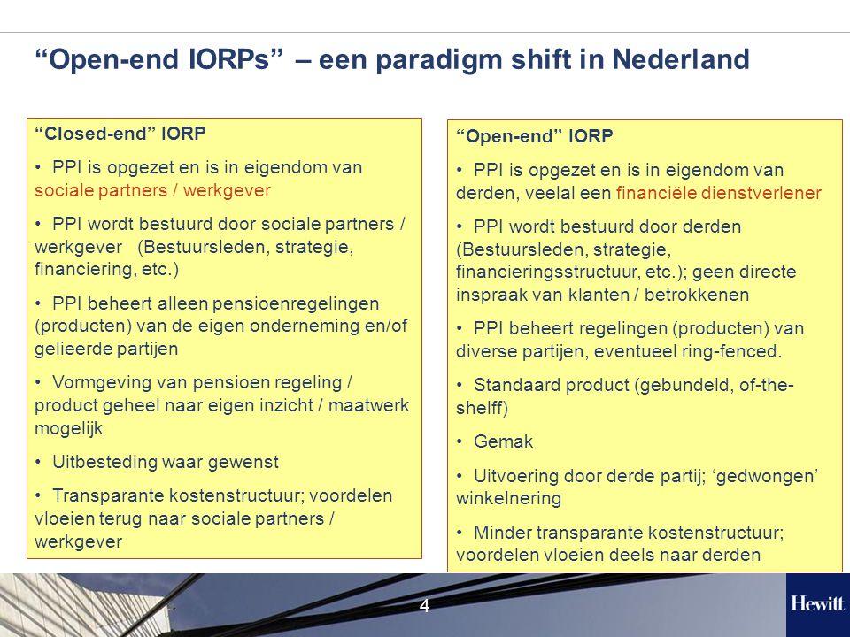 4 Open-end IORPs – een paradigm shift in Nederland Closed-end IORP PPI is opgezet en is in eigendom van sociale partners / werkgever PPI wordt bestuurd door sociale partners / werkgever (Bestuursleden, strategie, financiering, etc.) PPI beheert alleen pensioenregelingen (producten) van de eigen onderneming en/of gelieerde partijen Vormgeving van pensioen regeling / product geheel naar eigen inzicht / maatwerk mogelijk Uitbesteding waar gewenst Transparante kostenstructuur; voordelen vloeien terug naar sociale partners / werkgever Open-end IORP PPI is opgezet en is in eigendom van derden, veelal een financiële dienstverlener PPI wordt bestuurd door derden (Bestuursleden, strategie, financieringsstructuur, etc.); geen directe inspraak van klanten / betrokkenen PPI beheert regelingen (producten) van diverse partijen, eventueel ring-fenced.