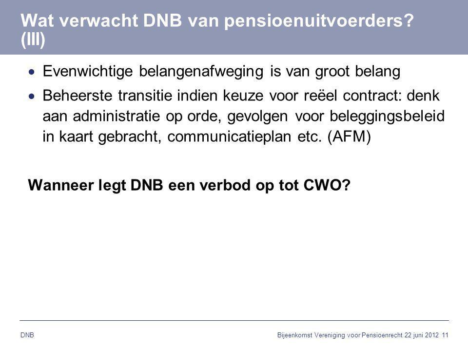 11 DNB Wat verwacht DNB van pensioenuitvoerders? (III)  Evenwichtige belangenafweging is van groot belang  Beheerste transitie indien keuze voor reë
