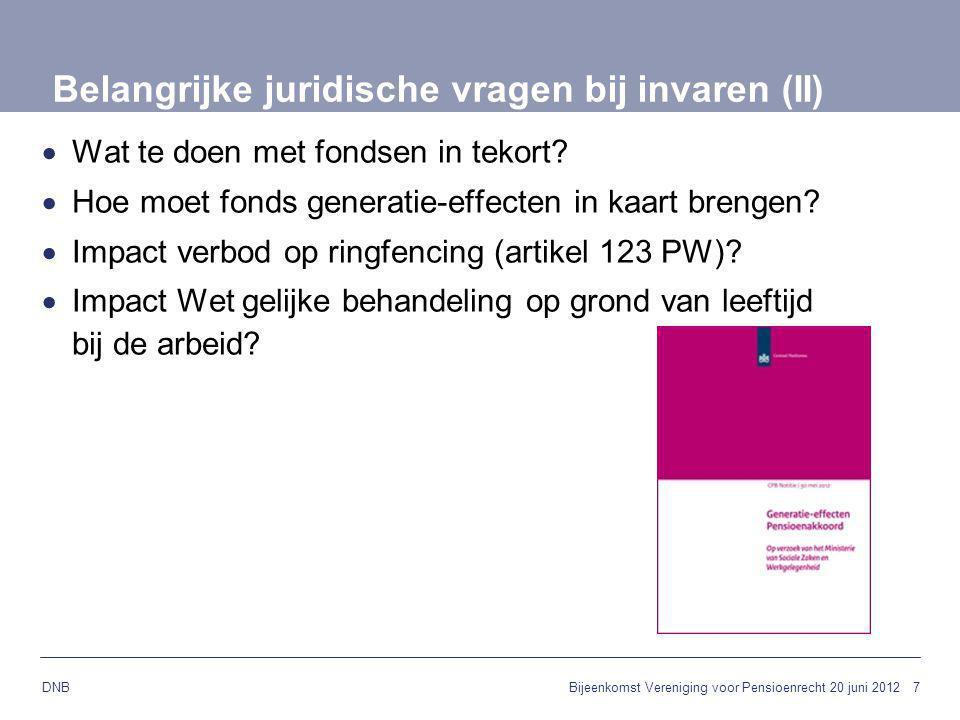 7 DNB Belangrijke juridische vragen bij invaren (II)  Wat te doen met fondsen in tekort?  Hoe moet fonds generatie-effecten in kaart brengen?  Impa