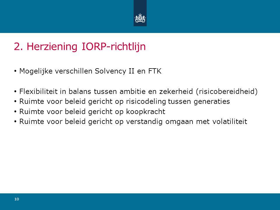 2. Herziening IORP-richtlijn Mogelijke verschillen Solvency II en FTK Flexibiliteit in balans tussen ambitie en zekerheid (risicobereidheid) Ruimte vo
