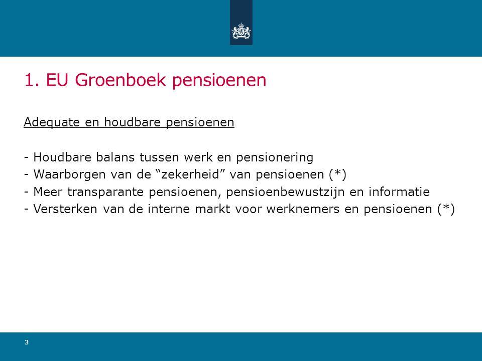 """1. EU Groenboek pensioenen Adequate en houdbare pensioenen - Houdbare balans tussen werk en pensionering - Waarborgen van de """"zekerheid"""" van pensioene"""