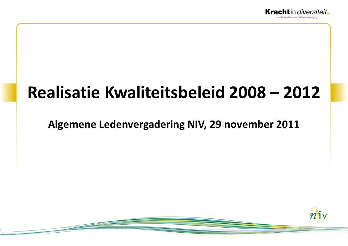 2 Kwaliteitsbeleid 2008 - 2012: doelstellingen 1.Actuele richtlijnen in een vorm die implementatie bevordert 2.Geïntegreerde zorginformatie 3.Actief bijdragen aan het verbeteren van patiëntveiligheid 4.Normen voor en toetsing van de kwaliteit van de praktijkvoering 5.Transparantie over de kwaliteit van zorg 6.Kwaliteitsinnovaties: overzicht en bruikbaarheid 2ALV 29 november 2011Realisatie Kwaliteitsbeleid 2008 – 2012