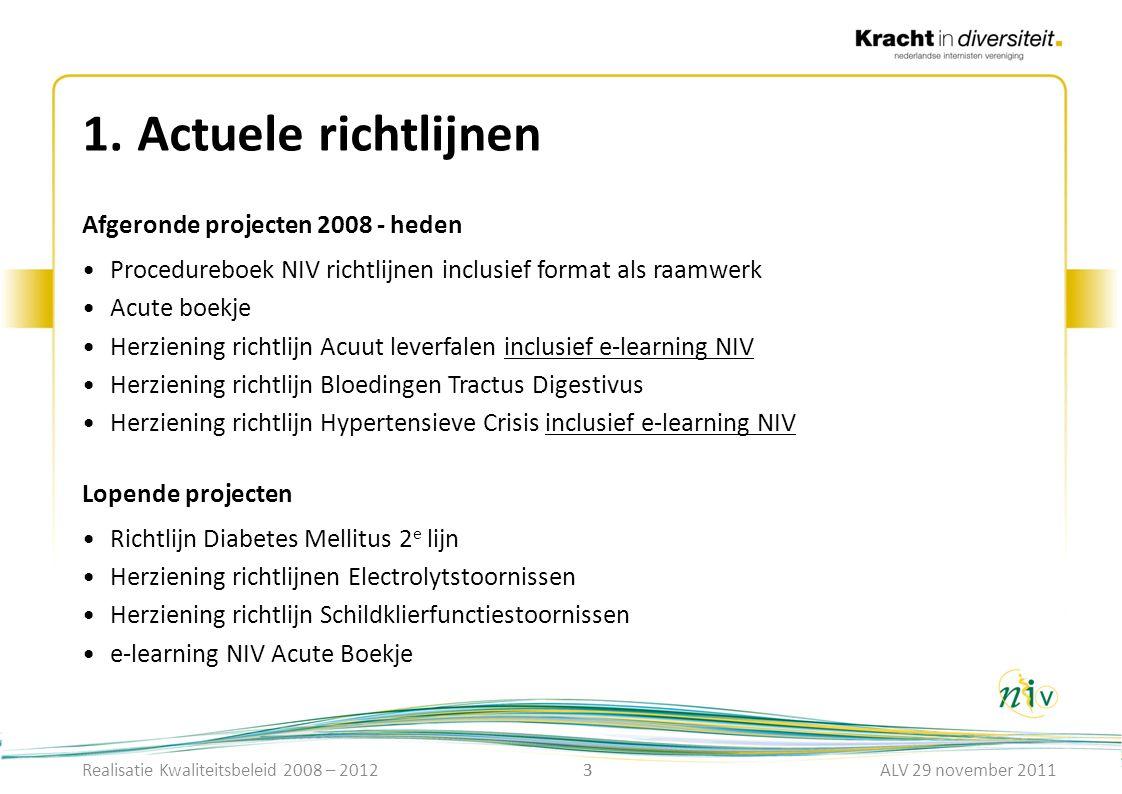 3 1.Actuele richtlijnen 3 Afgeronde projecten 2008 - heden Procedureboek NIV richtlijnen inclusief format als raamwerk Acute boekje Herziening richtli