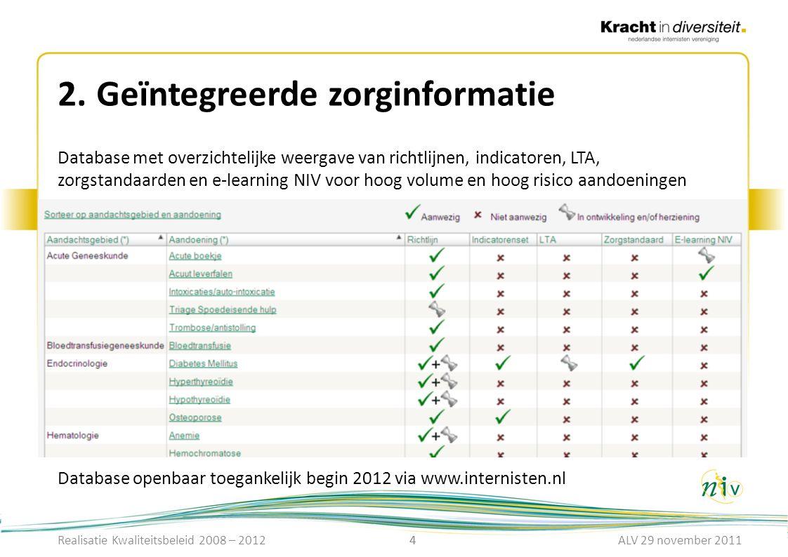 4 2.Geïntegreerde zorginformatie 4 Database met overzichtelijke weergave van richtlijnen, indicatoren, LTA, zorgstandaarden en e-learning NIV voor hoo