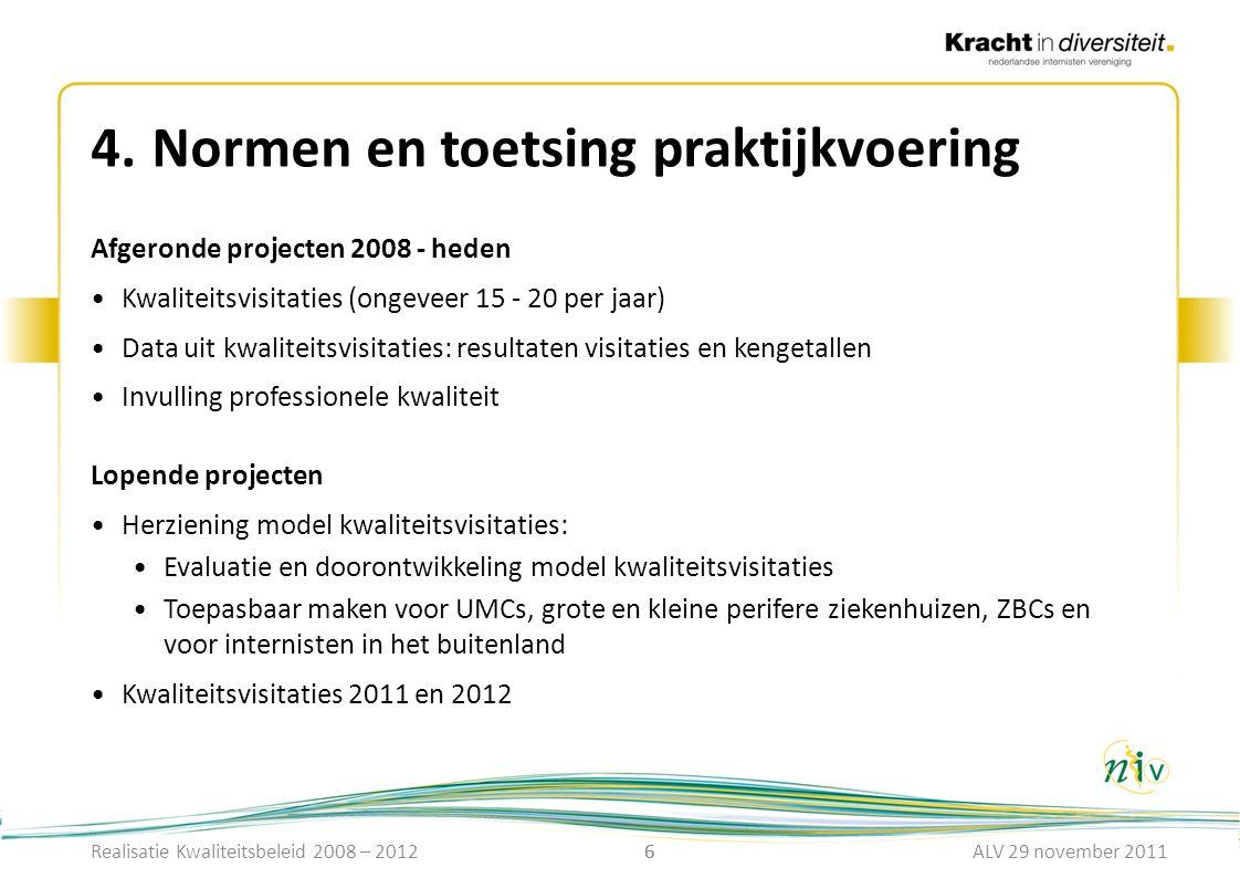 6 4.Normen en toetsing praktijkvoering 6 Afgeronde projecten 2008 - heden Kwaliteitsvisitaties (ongeveer 15 - 20 per jaar) Data uit kwaliteitsvisitati