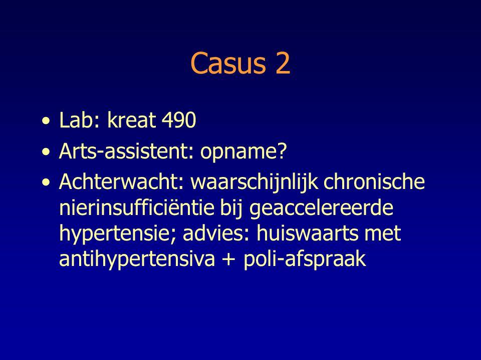 Casus 2 Lab: kreat 490 Arts-assistent: opname? Achterwacht: waarschijnlijk chronische nierinsufficiëntie bij geaccelereerde hypertensie; advies: huisw