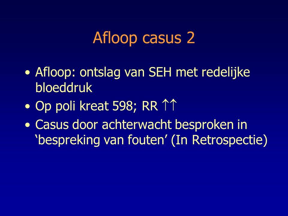 Afloop casus 2 Afloop: ontslag van SEH met redelijke bloeddruk Op poli kreat 598; RR  Casus door achterwacht besproken in 'bespreking van fouten' (I