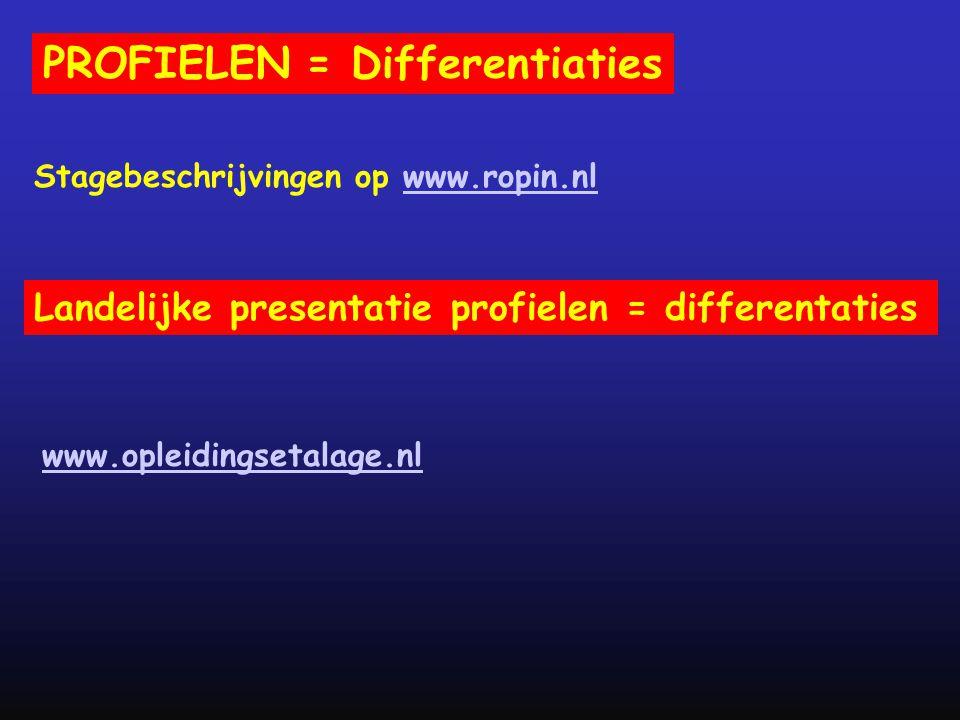 PROFIELEN = Differentiaties www.opleidingsetalage.nl Landelijke presentatie profielen = differentaties Stagebeschrijvingen op www.ropin.nlwww.ropin.nl