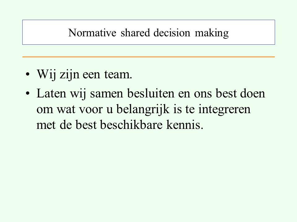 Normative shared decision making Wij zijn een team.
