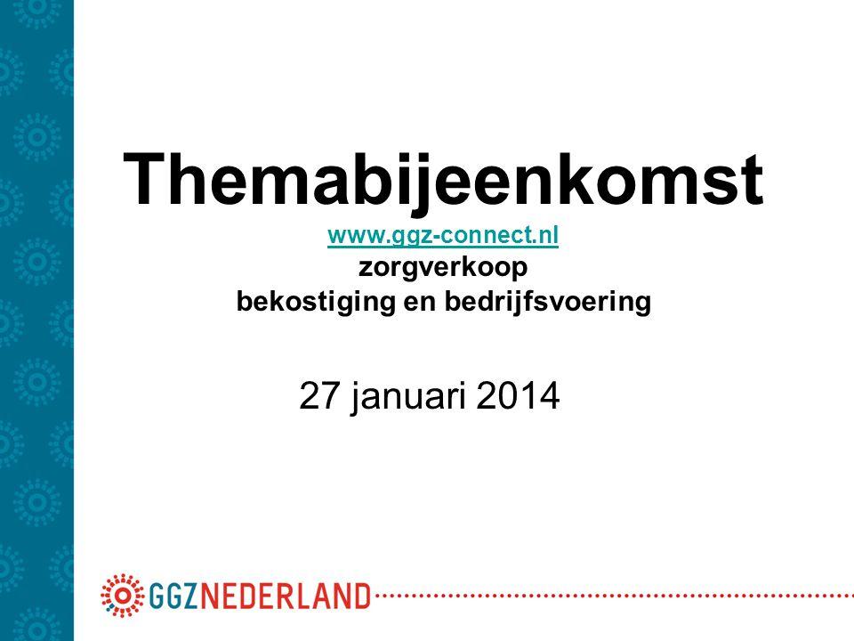 Themabijeenkomst www.ggz-connect.nl zorgverkoop bekostiging en bedrijfsvoering www.ggz-connect.nl 27 januari 2014