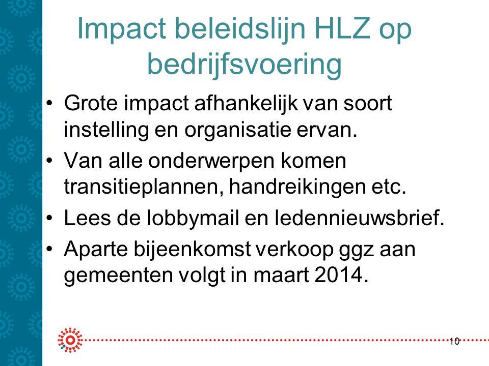 Impact beleidslijn HLZ op bedrijfsvoering Grote impact afhankelijk van soort instelling en organisatie ervan. Van alle onderwerpen komen transitieplan