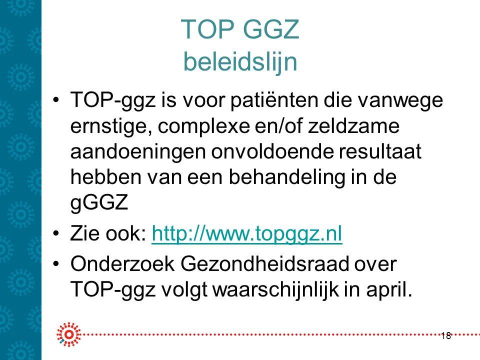 TOP GGZ beleidslijn TOP-ggz is voor patiënten die vanwege ernstige, complexe en/of zeldzame aandoeningen onvoldoende resultaat hebben van een behandel