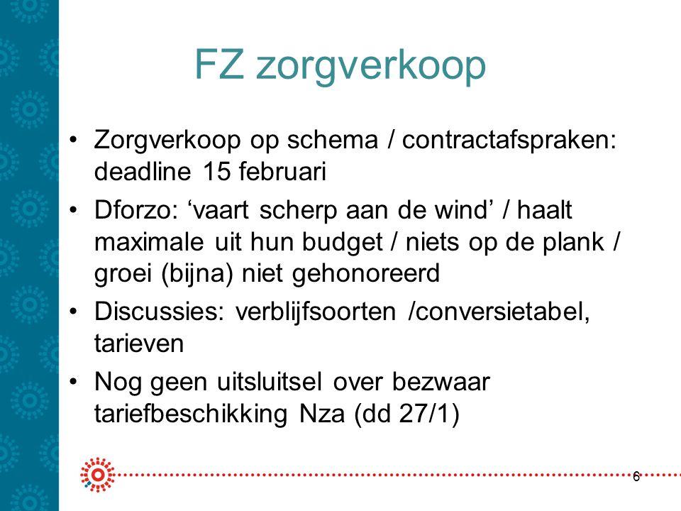 FZ zorgverkoop Zorgverkoop op schema / contractafspraken: deadline 15 februari Dforzo: 'vaart scherp aan de wind' / haalt maximale uit hun budget / ni