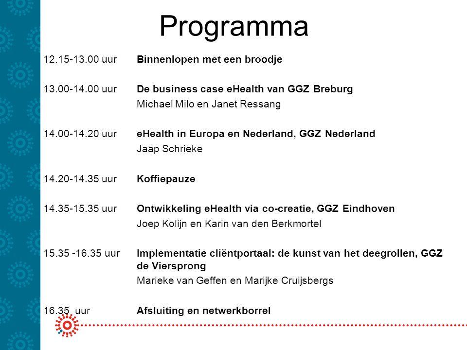 Programma 12.15-13.00 uur Binnenlopen met een broodje 13.00-14.00 uur De business case eHealth van GGZ Breburg Michael Milo en Janet Ressang 14.00-14.20 uur eHealth in Europa en Nederland, GGZ Nederland Jaap Schrieke 14.20-14.35 uurKoffiepauze 14.35-15.35 uurOntwikkeling eHealth via co-creatie, GGZ Eindhoven Joep Kolijn en Karin van den Berkmortel 15.35 -16.35 uur Implementatie cliëntportaal: de kunst van het deegrollen, GGZ de Viersprong Marieke van Geffen en Marijke Cruijsbergs 16.35 uurAfsluiting en netwerkborrel