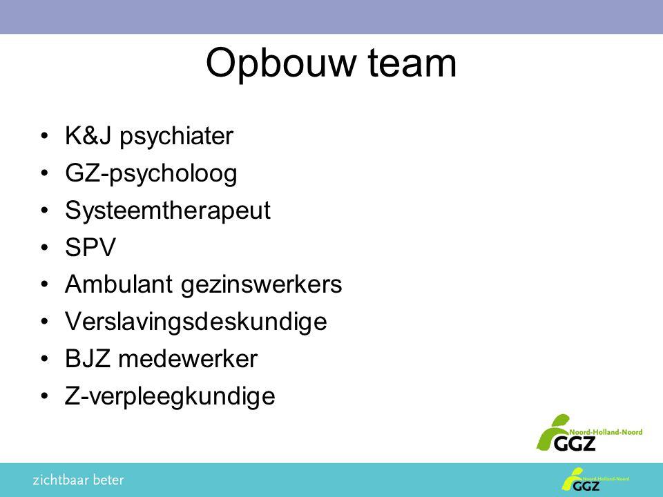 Opbouw team K&J psychiater GZ-psycholoog Systeemtherapeut SPV Ambulant gezinswerkers Verslavingsdeskundige BJZ medewerker Z-verpleegkundige