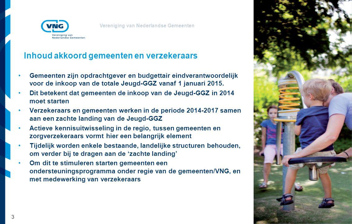 Vereniging van Nederlandse Gemeenten Inhoud akkoord gemeenten en verzekeraars Gemeenten zijn opdrachtgever en budgettair eindverantwoordelijk voor de inkoop van de totale Jeugd-GGZ vanaf 1 januari 2015.