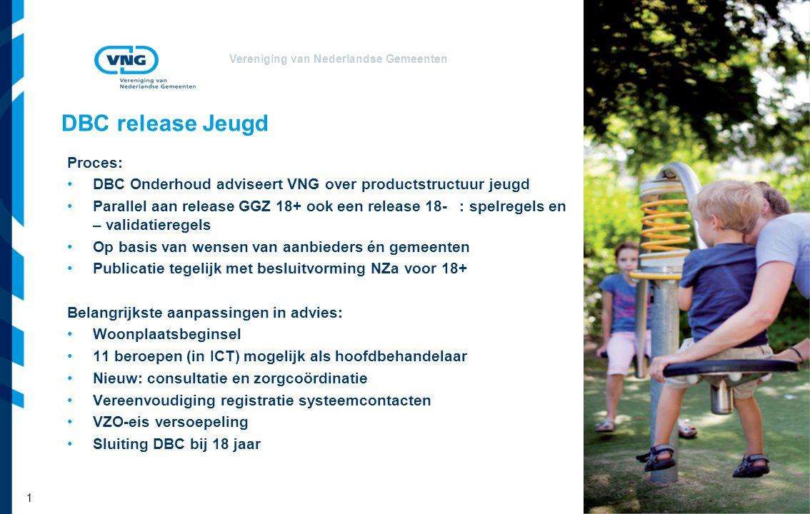 Vereniging van Nederlandse Gemeenten DBC release Jeugd Proces: DBC Onderhoud adviseert VNG over productstructuur jeugd Parallel aan release GGZ 18+ oo