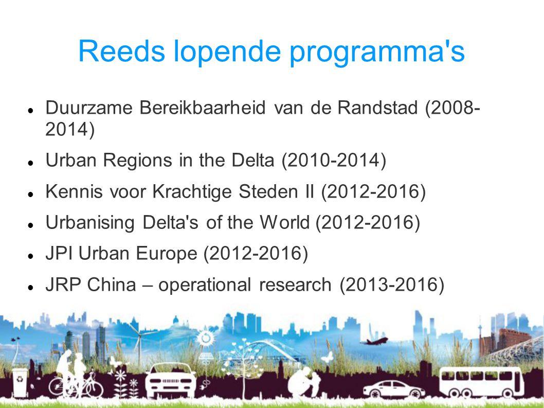 Reeds lopende programma s Duurzame Bereikbaarheid van de Randstad (2008- 2014) Urban Regions in the Delta (2010-2014) Kennis voor Krachtige Steden II (2012-2016) Urbanising Delta s of the World (2012-2016) JPI Urban Europe (2012-2016) JRP China – operational research (2013-2016)