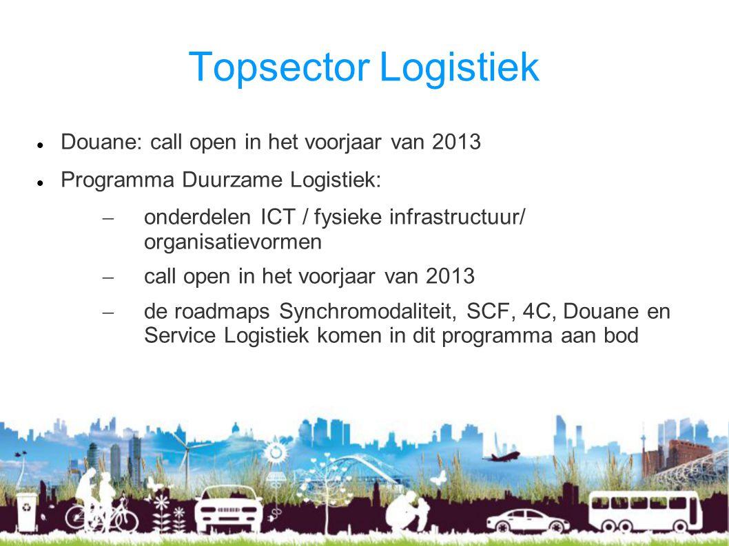 Topsector Logistiek Douane: call open in het voorjaar van 2013 Programma Duurzame Logistiek: – onderdelen ICT / fysieke infrastructuur/ organisatievormen – call open in het voorjaar van 2013 – de roadmaps Synchromodaliteit, SCF, 4C, Douane en Service Logistiek komen in dit programma aan bod