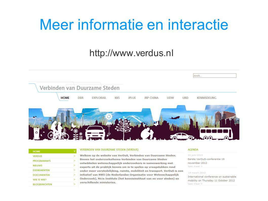 Meer informatie en interactie http://www.verdus.nl