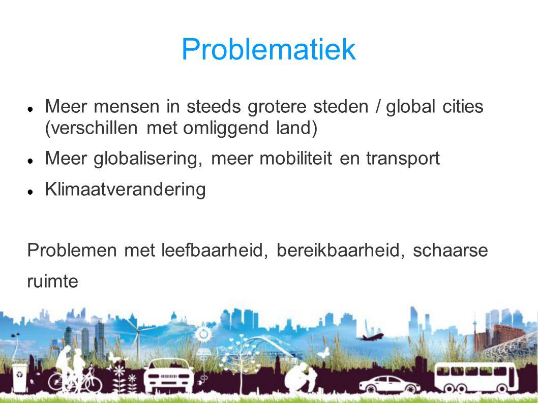 Problematiek Meer mensen in steeds grotere steden / global cities (verschillen met omliggend land) Meer globalisering, meer mobiliteit en transport Kl