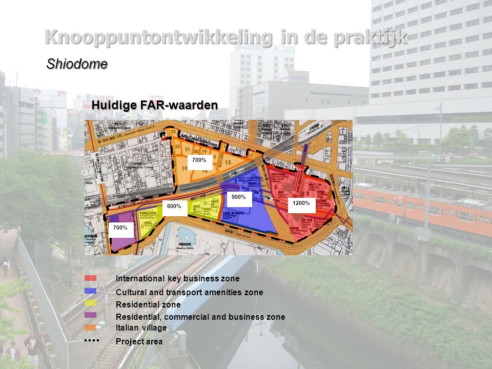 Knooppuntontwikkeling in de praktijk Shiodome International key business zone Cultural and transport amenities zone Residential zone Residential, commercial and business zone Italian village Project area Huidige FAR-waarden 1200% 700% 900% 600% 700%