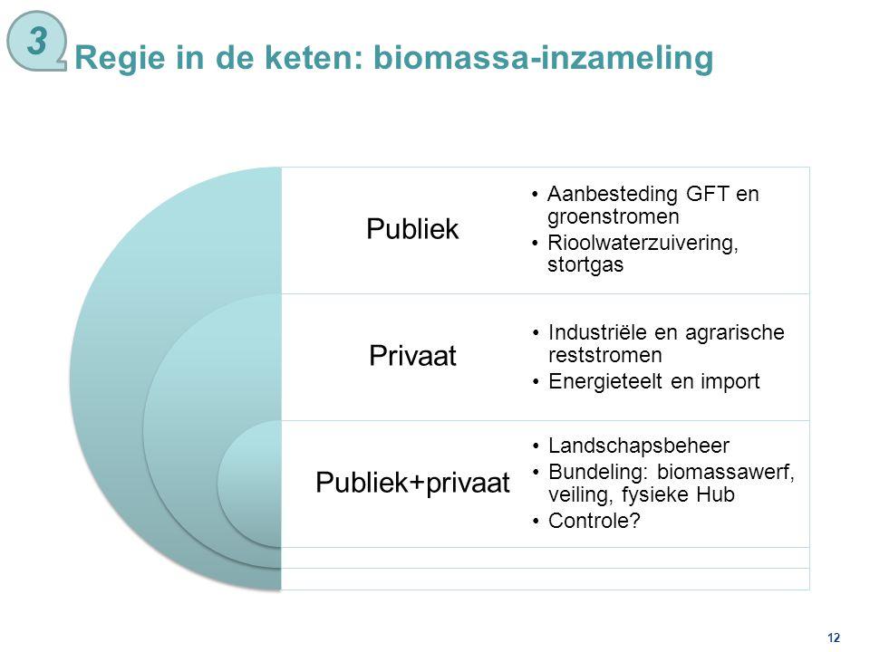 12 Regie in de keten: biomassa-inzameling 3 Publiek Privaat Publiek+privaat Aanbesteding GFT en groenstromen Rioolwaterzuivering, stortgas Industriële