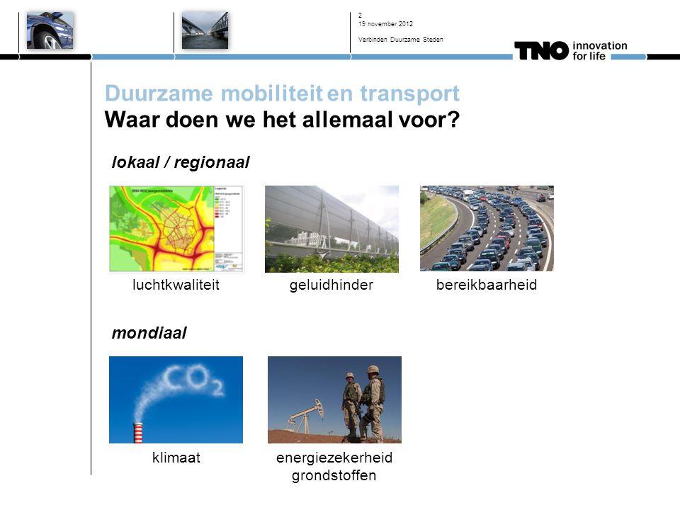 19 november 2012 Verbinden Duurzame Steden 2 Duurzame mobiliteit en transport Waar doen we het allemaal voor.