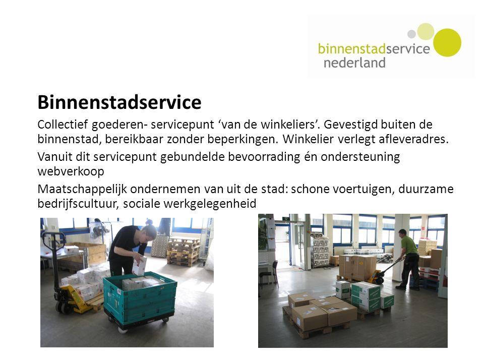Binnenstadservice Collectief goederen- servicepunt 'van de winkeliers'.