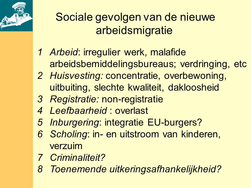 1Arbeid: irregulier werk, malafide arbeidsbemiddelingsbureaus; verdringing, etc 2Huisvesting: concentratie, overbewoning, uitbuiting, slechte kwaliteit, dakloosheid 3Registratie: non-registratie 4Leefbaarheid : overlast 5Inburgering: integratie EU-burgers.