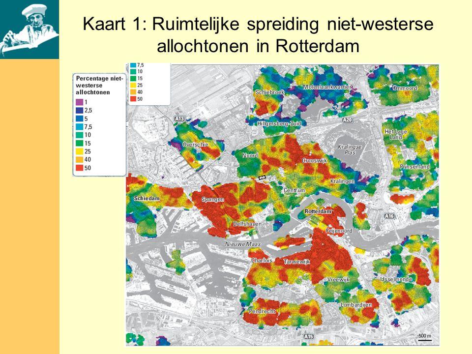 Kaart 1: Ruimtelijke spreiding niet-westerse allochtonen in Rotterdam