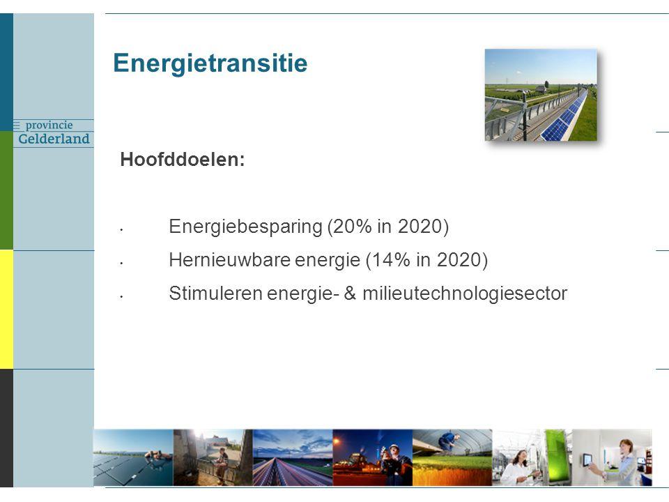 Energietransitie Hoofddoelen: Energiebesparing (20% in 2020) Hernieuwbare energie (14% in 2020) Stimuleren energie- & milieutechnologiesector 2
