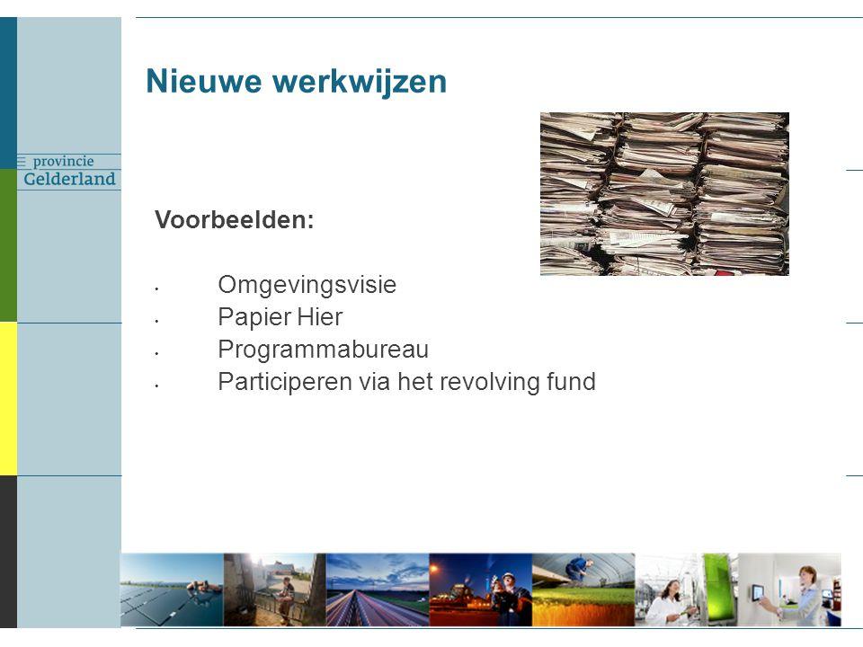 Voorbeelden: Omgevingsvisie Papier Hier Programmabureau Participeren via het revolving fund Nieuwe werkwijzen 3