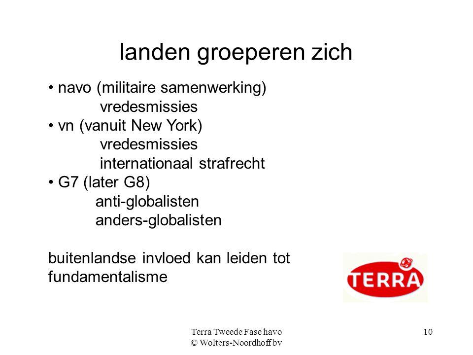 Terra Tweede Fase havo © Wolters-Noordhoff bv 10 landen groeperen zich navo (militaire samenwerking) vredesmissies vn (vanuit New York) vredesmissies